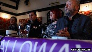 George Galloway and other party members at their campaign launch
