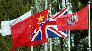 The Union flag, Chinese flag and the MG standard flies at Longbridge