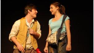 Two actors perform in Striker
