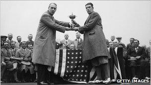 Samuel Ryder (left) presenting the Ryder Cup in 1929