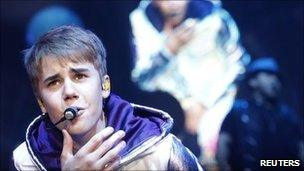 Canadian singer Justin Bieber performs in Zurich on 8 April 2011
