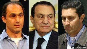 Gamal, Hosni and Alaa Mubarak