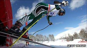 A skier during the Alpine European Cup in February 2011 at Sochi
