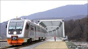 The combined road and railway which will serve the Sochi 2014 games