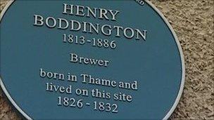 Henry Boddington's blue plaque