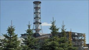 A view of the 4th power block of the Chernobyl Nuclear Power Plant taken on April 18, 2011.