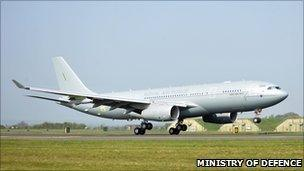 RAF Voyager aircraft arriving in UK
