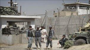 Afghan prison main gate in Kandahar - 25 April 2011