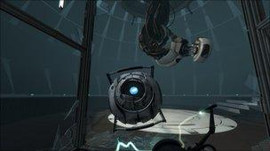 A screenshot from Portal 2 on the PlayStation 3