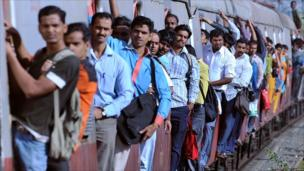 Mumbai commuters on packed local train