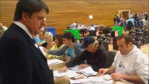 BNP leader Nick Griffin at the count in Swansea