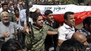 Funeral of Brigadier General Moayed al-Saleh in Baghdad, Iraq, on 8/5/11