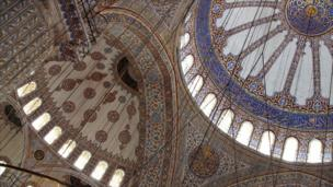 Floral ceiling of the Blue Mosque in Istanbul, Turkey.