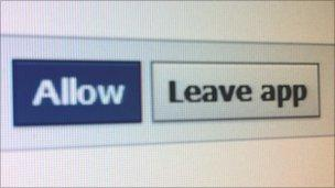 Screenshot of Allow/Leave app options on Facebook