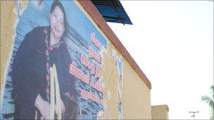 A campaign poster for the leader of the main opposition party, Jayalalitha.