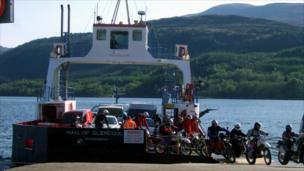 Bikers disembarking the Corran ferry