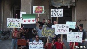 Protesters in a square in Deraa 21, April 2011