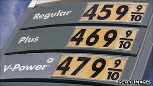 Fuel prices on display in California, April 2011
