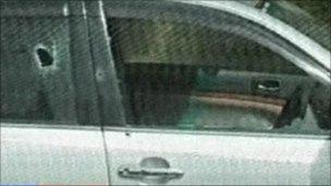 Bullet holes in the Saudi car in Karachi, Pakistan (16 May 2011)