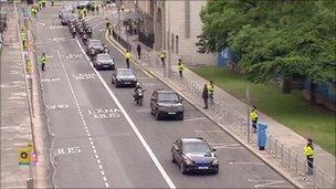 Convoy of cars in Dublin