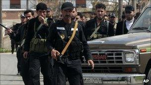 Syrian security services personnel in Deraa (22 March 2011)