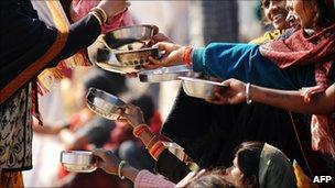 Beggars in the Indian city of Allahabad in January 2010