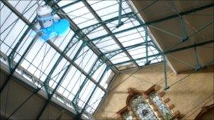 Antony Hall suspended electric fans from the Victoria Baths rafters