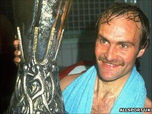Ipswich Town's Mick Mills with the Uefa Cup