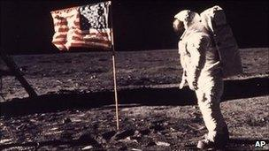 Astronaut Edwin Buzz Aldrin poses for a photograph on the Moon during the Apollo 11 mission, July 1969