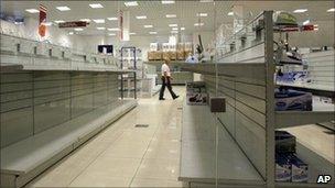Empty shelves at a shop in Minsk