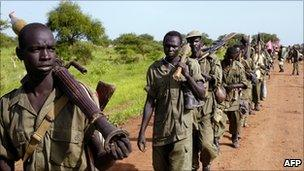 Southern SPLM soldiers withdrawing from Abyei in May 2008