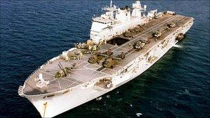 File photo of HMS Ocean - Royal Navy handout - 19 April 2010