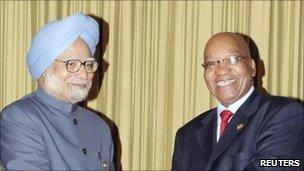 Manmohan Singh meeting South African President Jacob Zuma back in April