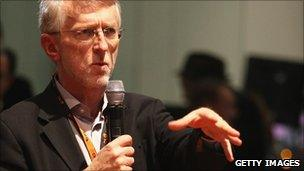 Jeff Jarvis speaking at a conference