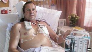 Steven McCormack in hospital in Whakatane, New Zealand (21 May 2011)