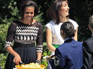 Michelle Obama and Samantha Cameron hosting a barbecue at Downing Street