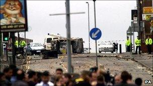 Scene from Oldham riots in 2001