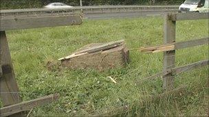 Scene of rock fall on A629 near Halifax