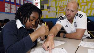 Matt Prior helps out with a maths lessons