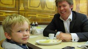 Tom and Alex Scott-Gall enjoy birthday chips