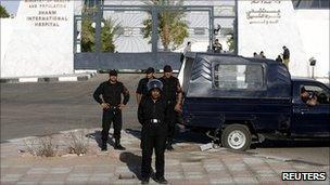 Police outside Sharm el-Sheikh International Hospital