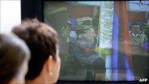 Bosnian Muslim women in Sarajevo watch news of Ratko Mladic's capture, 26 May