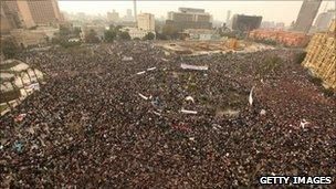 Protesters in Tahrir Square in Cairo on 1 February 2011