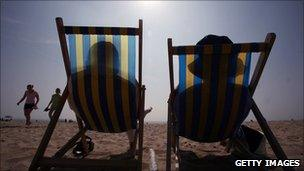 Holiday makers in Bournemouth enjoying the sunshine