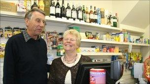 Tim and Valerie Mount in Plymtree Community shop