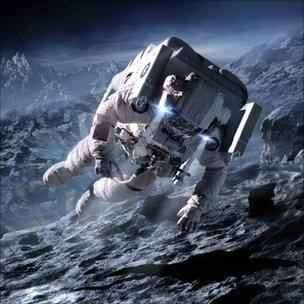 Astronaut works up close to a comet