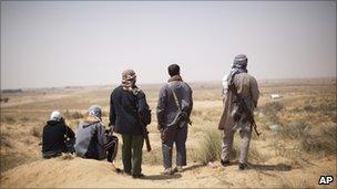 Libyan rebels outside Misrata