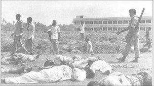Bodies of non-Bengali civilians who Dr Bose says were killed by Bengali nationalists in Jessore, East Pakistan, in April 1971.