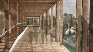 Walkway for visitors to view the pandas