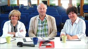 Helen McDermott, Peter Wilson and Jan McFarlane, judges for BBC Radio Norfolk's Choir of the Year competition